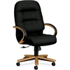 "Pillow-Soft 2191 High Back Executive Chair - Leather Black Seat - Fiber, Foam Back - Hardwood Harvest Frame - 5-star Base - 22"" Seat Width x 21"" Seat Depth - 26.3"" Width x 29.8"" Depth x 46.5"" Heig"