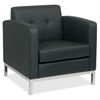 "Wall Street Arm Reception Chair - Faux Leather Black Seat - Four-legged Base - Black - 30"" Width x 28"" Depth x 30"" Height"