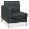 "Wall Street Left Arm Chair - Faux Leather Black Seat27"" Width x 28"" Depth x 30"" Height"