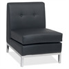 "Wall Street Armless Chair - Faux Leather Black Seat - Four-legged Base - Black - 23"" Width x 28"" Depth x 30"" Height"