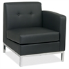 "Wall Street Right Arm Chair - Faux Leather Black Seat27"" Width x 28"" Depth x 30"" Height"