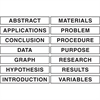 """Pacon Presentation Board Subtitles - """"ABSTRACT"""", """"APPLICATIONS"""", """"CONCLUSION"""", """"DATA"""", """"GRAPH"""", """"HYPOTHESIS"""", """"INTRODUCTION"""", """"MATERIALS"""", """"PROBLEM"""", """"PROCEDURE"""", """"PURPOSE"""", """"RESEARCH"""", """"RESULTS"""", """"VA"""