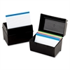 "Oxford 3x5"" Plastic Index Card Box - External Dimensions: 5"" Width x 4"" Depth x 3"" Height - 300 x Card - Plastic - Black - For Card - 1 Each"