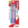 Pentel Clic Retractable Eraser - Lead Pencil - Refillable - Pencil - Retractable, Non-abrasive, Latex-free Grip - 3/Pack - Assorted