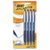 BIC Atlantis Easy Glide Retractable Ballpoint Pens - Medium Point Type - 1 mm Point Size - Refillable - Blue - Blue Barrel - 4 / Pack