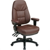 "Office Star High-Back Eco-leather Chair - Leather Burgundy Seat - Black Frame - 5-star Base - Burgundy - 20.25"" Seat Width x 19.50"" Seat Depth - 27.3"" Width x 27.5"" Depth x 49"" Height"