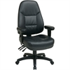 "Office Star High-Back Eco-leather Chair - Leather Black Seat - Black Frame - 5-star Base - Black - 20.25"" Seat Width x 19.50"" Seat Depth - 27.3"" Width x 27.5"" Depth x 49"" Height"