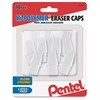 Pentel Hi-Polymer Eraser Caps - Lead Pencil Eraser - Latex-free, Non-abrasive, Crack Resistant, Smudge-free - 10/Pack - White