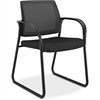 "HON Mesh Back Sled Base Guest Chair - Fabric Seat - Steel Frame - Sled Base - Black - Nylon - 25.5"" Width x 25.3"" Depth x 34.3"" Height"