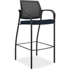"Mesh Back Cafe Height Stools - Fabric Mariner Seat - Steel Frame - Mariner - 25.5"" Width x 25.5"" Depth x 47"" Height"