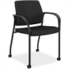 "Multipurpose Stacking Chairs w/Casters - Mesh Fabric Black Seat - Steel Frame - Four-legged Base - Black - 25.5"" Width x 25.3"" Depth x 34.3"" Height"