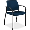 "Multipurpose Stacking Chairs w/Casters - Mesh Fabric Blue Seat - Steel Frame - Four-legged Base - Mariner - 25.5"" Width x 25.3"" Depth x 34.3"" Height"