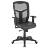"Executive High-Back Swivel Chair - Leather Black Seat - Steel Frame - Black - 28.5"" Width x 28.5"" Depth x 45"" Height"