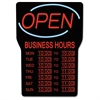 "LED Open Sign with Business Hours - 1 Each - Open, Business Hour Print/Message - 16"" Width x 24"" Height - Rectangular Shape - Blue"