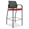 "HON Ignition Cafe-height Stool - Fabric Crimson Red Seat - Steel Frame - Four-legged Base - Crimson Red - Nylon - 18.75"" Seat Width x 17.38"" Seat Depth - 23"" Width x 25"" Depth x 46.5"" Height"