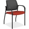 "Multipurpose Guest Mesh Back Stacking Chair - Fabric Crimson Red Seat - Steel Frame - Four-legged Base - Nylon - 18.50"" Seat Width x 18.13"" Seat Depth - 21.8"" Width x 25"" Depth x 33.5"" Height"