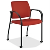 "Multipurpose Mobile Poppy Guest Stacking Chair - Fabric Cranberry Seat - Fabric Cranberry Back - Steel Frame - Four-legged Base - Crimson Red - 18.50"" Seat Width x 18.13"" Seat Depth - 25"" Width x"