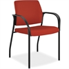 "Multipurpose Poppy Guest Stacking Chair - Fabric Cranberry Seat - Fabric Cranberry Back - Steel Black Frame - Four-legged Base - Crimson Red - 18.50"" Seat Width x 18.13"" Seat Depth - 25"" Width x 2"
