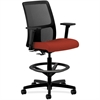 "HON Ignition Low-Back Mesh Task Stool - Fabric Cranberry Seat - Black Back - 5-star Base - 19"" Seat Width x 17"" Seat Depth - 27.5"" Width x 27.5"" Depth x 53"" Height"