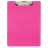 "Low-profile Clip Letter-size Clipboard - 8.50"" x 11"" - Low-profile - Plastic - Neon Pink"