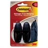Command Adhesive Medium Designer Hooks - 2 Medium Hook - 3 lb (1.36 kg) Capacity - for Paint, Wood, Tile - Plastic - Black - 2 / Pack