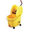 "Rubbermaid WaveBrake Down Press Combo Mop Bucket - 35 quart - Tubular Steel, Plastic - 36.5"" x 15.7"" - Yellow"