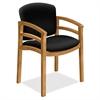 "HON 2112 Dble Rail Arms Harvest Wood Guest Chair - Black Seat - Black Back - Hardwood Frame - Four-legged Base - 20"" Seat Width x 17.50"" Seat Depth - 23.5"" Width x 18.5"" Depth x 33.1"" Height"