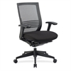 "Lorell Mid-back Mesh Chair - Black Seat - Black Back - Aluminum Frame - 5-star Base - Black - 18.13"" Seat Width x 18.13"" Seat Depth"