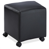 "Lorell Cube Leather Mobile Seat - 19.8"" x 17.3"" x 19.5"" - Leather Black Seat"