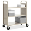 "Lorell Flat Shelf Book Cart - 3 Shelf - 200 lb Capacity - 5"" Caster Size - Steel - 39"" Width x 19"" Depth x 46"" Height - Putty"
