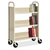 "Single-sided Book Cart - 3 Shelf - 200 lb Capacity - 5"" Caster Size - Steel - 39"" Width x 14"" Depth x 46"" Height - Putty"