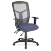 "Lorell Ergomesh Seating Exec Mesh High-Back Chair - Fabric Blue Seat - Gray Back - Steel Black, Plastic Frame - 5-star Base - 21"" Seat Width x 19.50"" Seat Depth - 28.5"" Width x 28.5"" Depth x 45"" Heigh"
