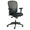 "Adjustable Arms Black Fabric Task Chair - Fabric Black Seat - Poly Black Back - Black Frame - 5-star Base - 24.8"" Width x 26"" Depth x 39"" Height"