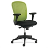 "Adjustable Arms Black Fabric Task Chair - Fabric Black Seat - Poly Green Back - Black Frame - 5-star Base - 24.8"" Width x 26"" Depth x 39"" Height"