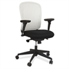 "Safco Adjustable Arms Black Fabric Task Chair - Fabric Black Seat - Poly White Back - Black Frame - 5-star Base - 24.8"" Width x 26"" Depth x 39"" Height"