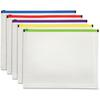 Pendaflex Poly Zip Envelopes - Document - Zippered - Poly - 5 / Pack - Assorted