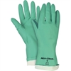 Nitri-Chem Flock Lined Nitrile Gloves - Styrene Butadiene Rubber (SBR), Nitrile - Green - Puncture Resistant, Non-slip Grip - For Material Handling - 1 / Pack
