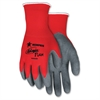 MCR Safety Ninja Flex Nylon Safety Gloves - Medium Size - Nylon Shell, Polymer, Latex - Red - Anti-bacterial - For Material Handling, Construction, Landscape - 2 / Pair