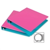 "Samsill Fashion Two-tone Round Ring View Binders - 1"" Binder Capacity - Letter - 8 1/2"" x 11"" Sheet Size - Round Ring Fastener - 2 Internal Pocket(s) - Polypropylene - Turquoise, Berry - Recycled - 2"