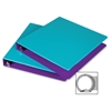 "Fashion Two-tone Round Ring Binders - 1"" Binder Capacity - Letter - 8 1/2"" x 11"" Sheet Size - Round Ring Fastener - 2 Internal Pocket(s) - Polypropylene - Turquoise, Purple - Recycled - 2 / Pa"