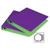 "Samsill Fashion Two-tone Round Ring Binders - 1"" Binder Capacity - Letter - 8 1/2"" x 11"" Sheet Size - Round Ring Fastener - 2 Internal Pocket(s) - Polypropylene - Purple, Lime - Recycled - 2 / Pack"