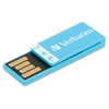 8GB Clip-It USB Flash Drive - Caribbean Blue - 8 GB - Blue - 1 Pack - Water Resistant, Dust Resistant""