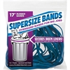 "Alliance Rubber 08995 SuperSize Bands - Large 17"" Heavy Duty Latex Rubber Bands - For Oversized Jobs - Blue - 4 Ounce Resealable Bag - Approx. 12 Bands"