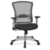 "Office Star Light Air Grid Back/Seat Chair - Leather Seat - Black - 21.3"" Width x 19.8"" Depth x 22.5"" Height"