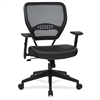 "Dark Air Grid Back Managers Chair - Leather Seat - 5-star Base - Black - 20"" Seat Width x 19.50"" Seat Depth - 26.5"" Width x 25.3"" Depth x 42"" Height"
