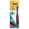 4-Color Grip Ballpoint Pen - Medium Point Type - 1 mm Point Size - Refillable - Black, Blue, Red, Green - Black Barrel - 1 Pack