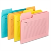 "SuperTab® Notes File Folder - Letter - 8 1/2"" x 11"" Sheet Size - 1/3 Tab Cut - Assorted Position Tab Location - 11 pt. Folder Thickness - Aqua, Goldenrod, Pink, Yellow - Recycled - 12 / Pack"