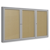 "Ghent 3-Door Outdoor Enclosed Vinyl Bulletin Board - 48"" Height x 72"" Width - Vinyl Surface - Satin Aluminum Frame - 1 Each"