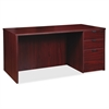 "Lorell Prominence Series Mahogany Right Pedestal Desk - 71"" x 36"" x 29"" - 3 x File Drawer(s), Box Drawer(s) - Single Pedestal on Right Side - Material: Particleboard - Finish: Mahogany, Thermofused Me"