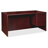 "Lorell Prominence Series Mahogany Right Pedestal Desk - 66"" x 30"" x 29"" - 3 x File Drawer(s), Box Drawer(s) - Single Pedestal on Right Side - Material: Particleboard - Finish: Mahogany, Thermofused Me"